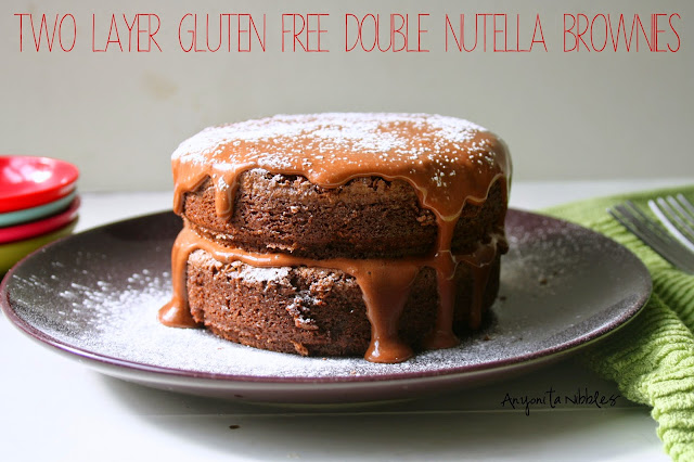 Two Layer Gluten Free Double Nutella Brownies