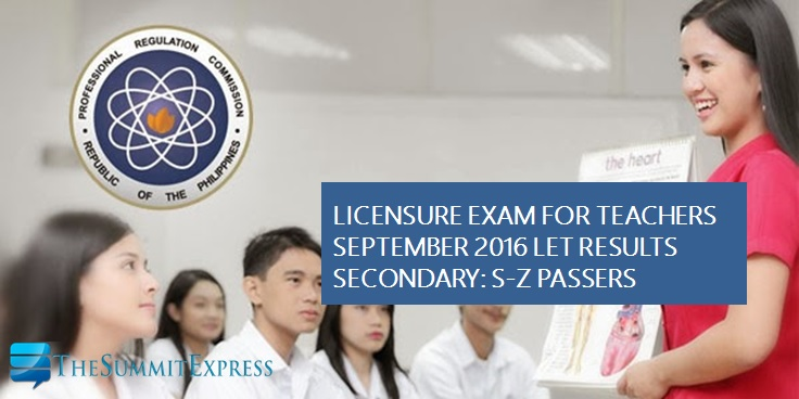 S-Z Passers LET Results September 2016 Secondary
