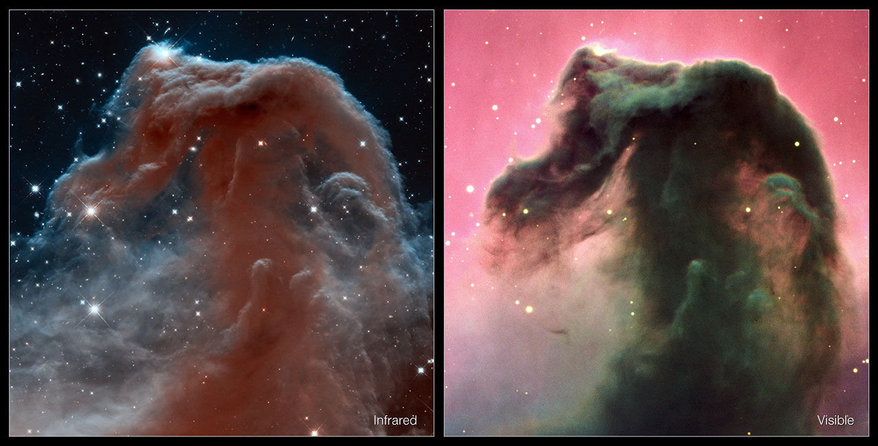 Infrared Visible Light Comparison View Of The Helix Nebula: Zunka Bhakri......: Hubble Sees Horsehead Nebula In