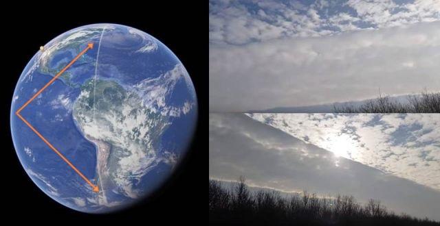 Странная облачная линия протянулась от Южного до Северного полюса Земли