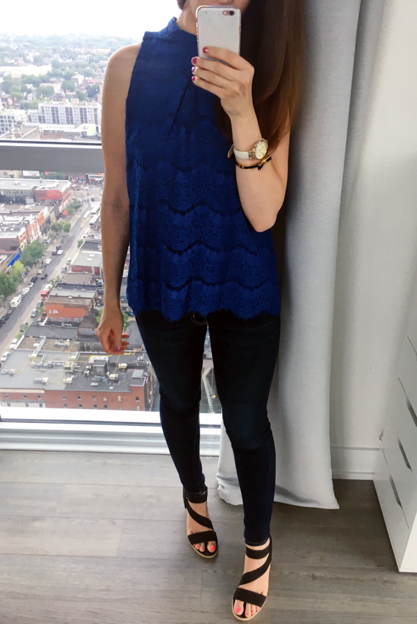 Blue Lace Blouse - Summer Night Out Outfit - Tori's Pretty Things Blog