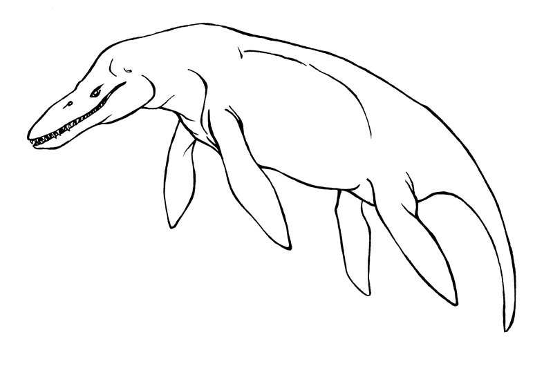 Click to see printable version of Kronosaurus Lineart Coloring page