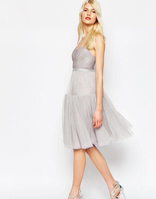 needle & thread grey tulle dress, grey tulle dress,
