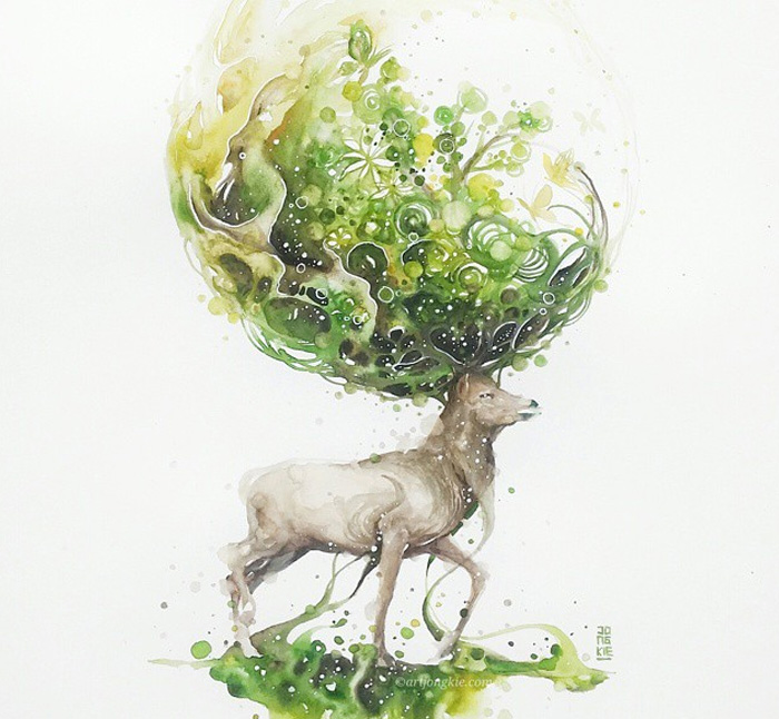 05-Spring-Luqman Reza jongkie-Painting-Fantasy-worlds-with-Flowing-Watercolor-Animals-www-designstack-co