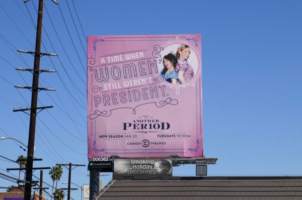 Another Period season 3 women President billboard