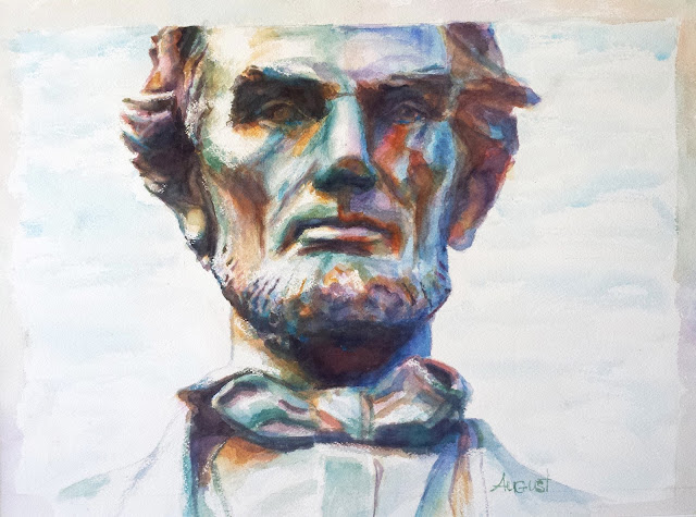 watercolor of Lincoln statue by Krista August