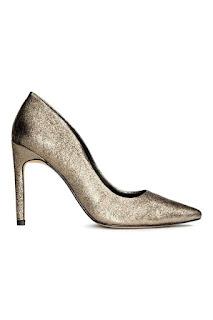 H&M Premium skórzana złote czółenka blog modowy netstylistka okazje w H&M