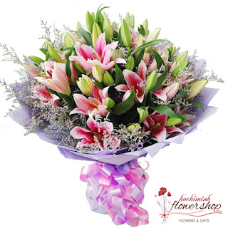 Send pink lily bouquet to  HCMC
