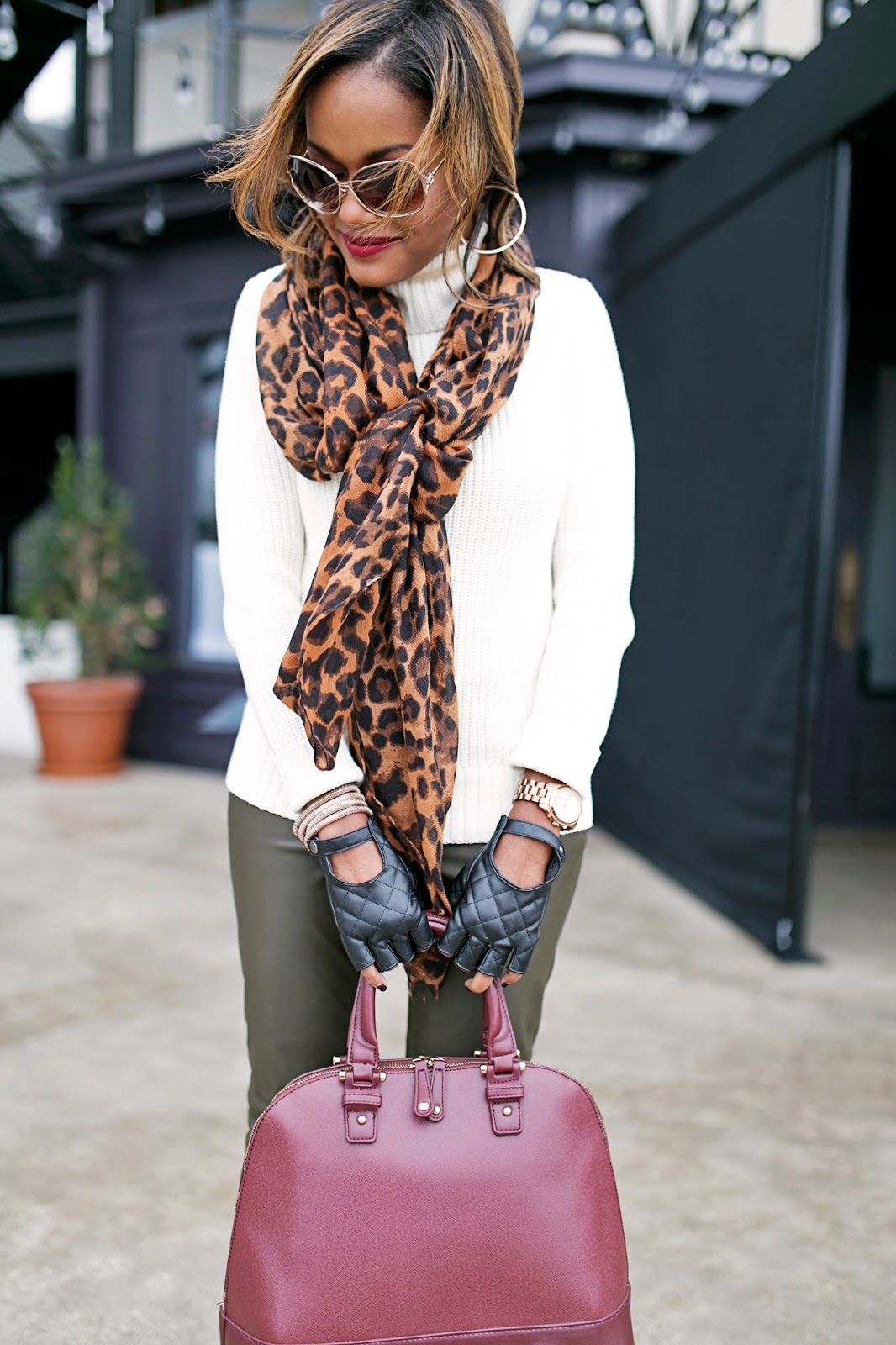 fall fashion trend, olive trend, dallas blogger, black girl blogger, fashion blogger, leopard scarf, how to wear leather leggings, how to wear leopard print, statement bag, detroit fashion blogger, dallas fashion, trinity groves
