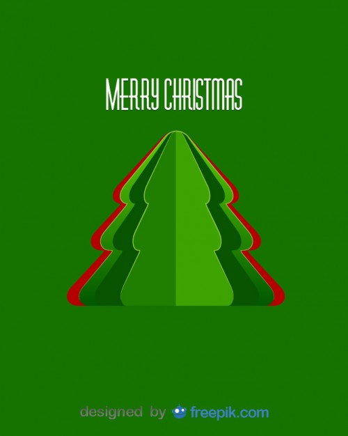 Postcard Merry Christmas with Christmas Trees Bent Mirror Free Vector
