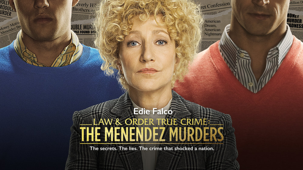 Edie Falco en el poster promocional de Law & Order True Crime: The Menendez Murders