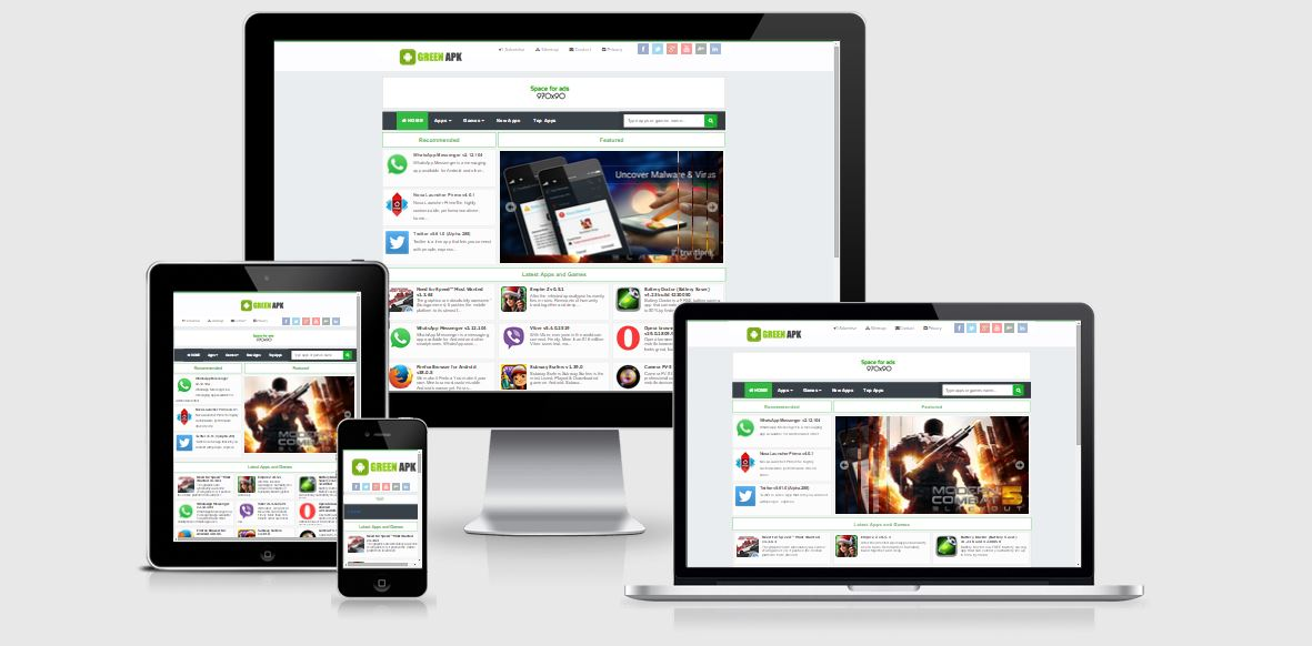 Green apk pro responsive blogger template akutemplates for Pro photo blog templates