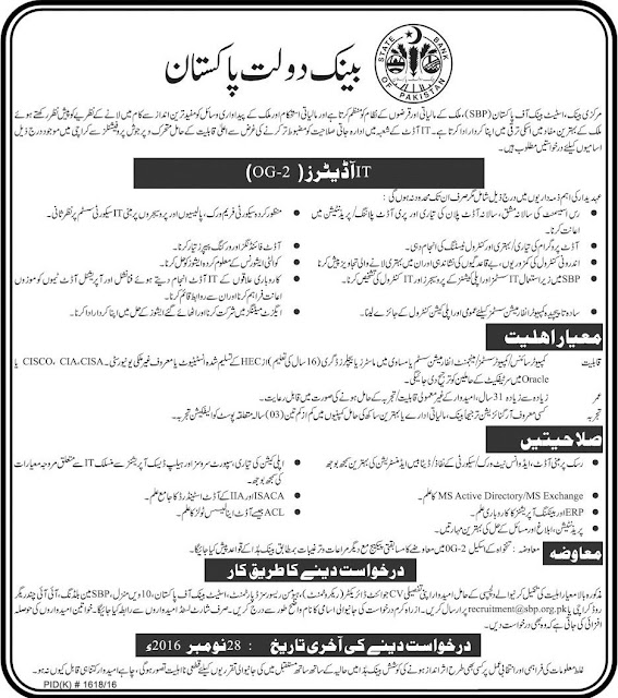 Auditors Jobs in State Bank of Pakistan
