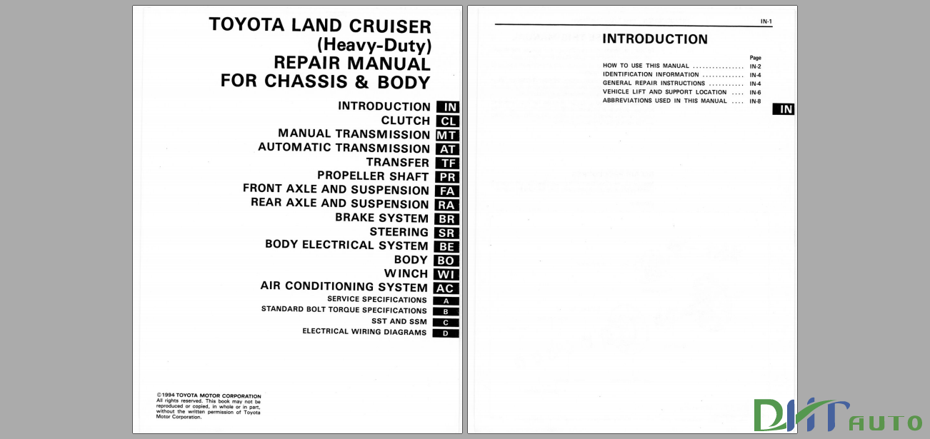 TOYOTA LAND CRUISER FOR CHASSIS AND BODY 1984-1990 REPAIR