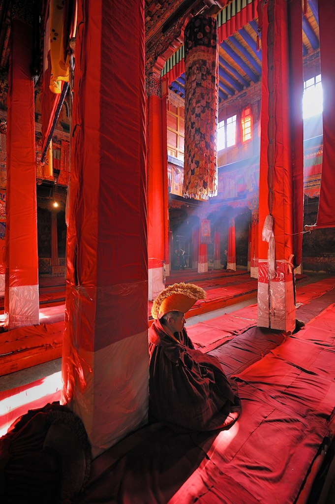 Ownership Buyout - A monk in a Buddhist Temple in Lhasa, Tibet