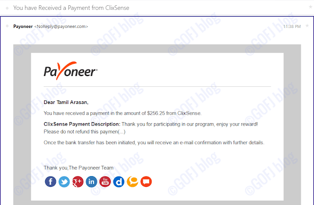 Payoneer funds received
