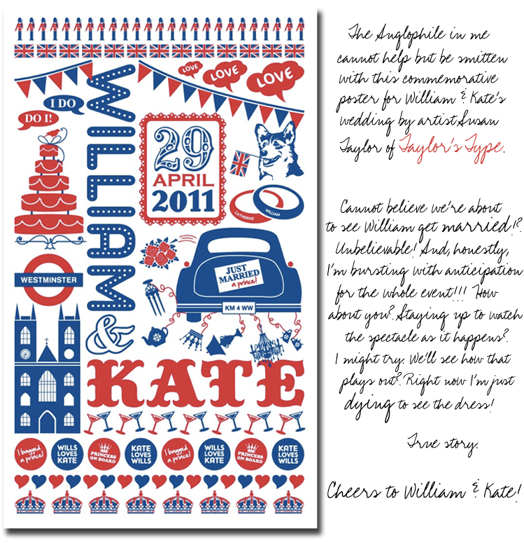 William & Kate's Royal Wedding Poster from Taylor's Type