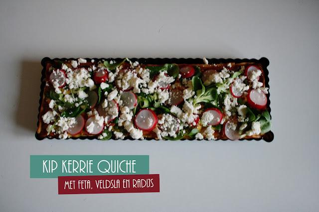 Food: Kip kerrie quiche met doperweten en feta; thestoryhour.nl