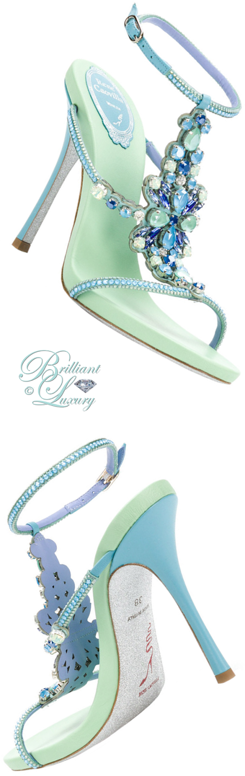 Brilliant Luxury ♦ René Caovilla beweled strappy high heel sandals in turquoise
