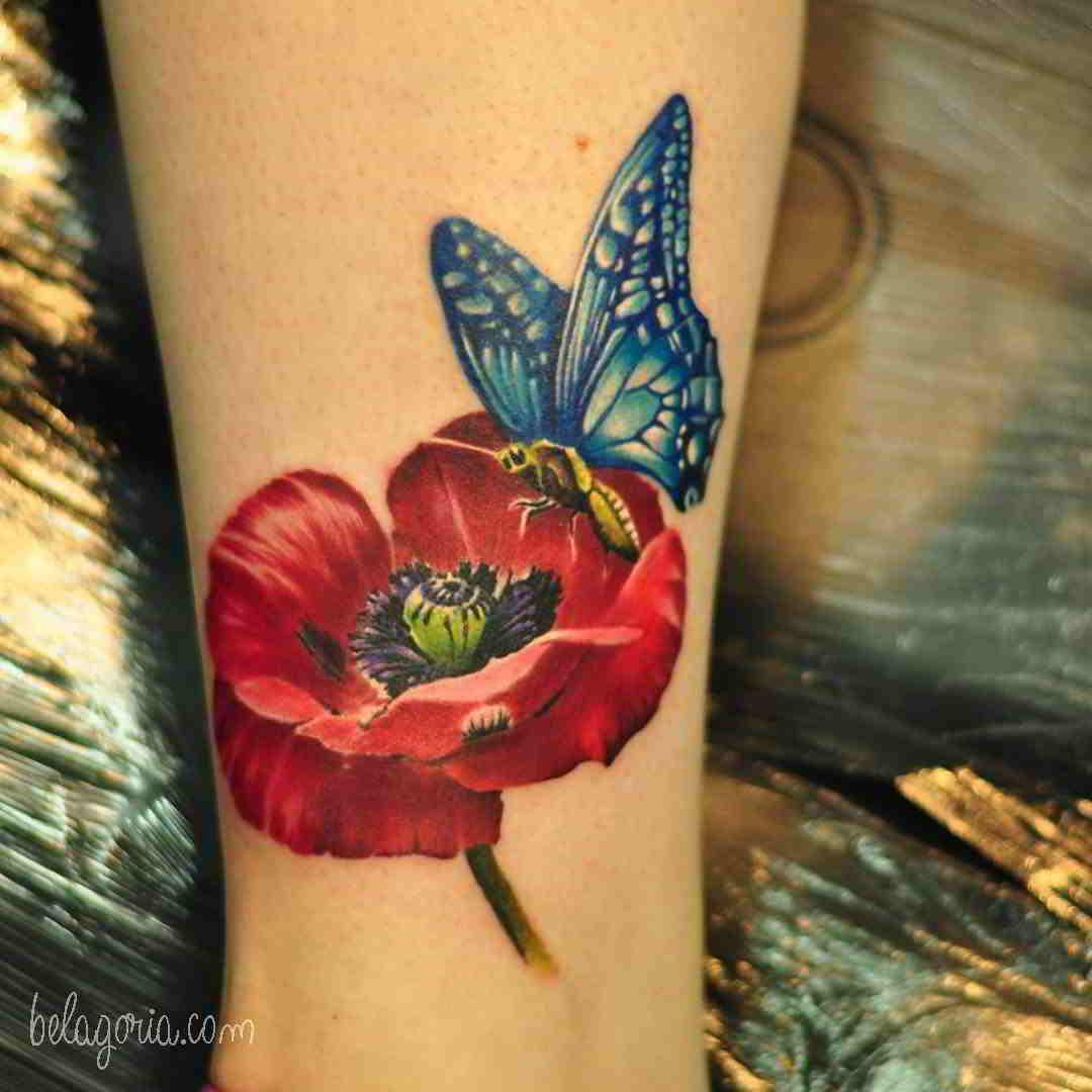 Tatuajes Flor de la amapola y mariposa