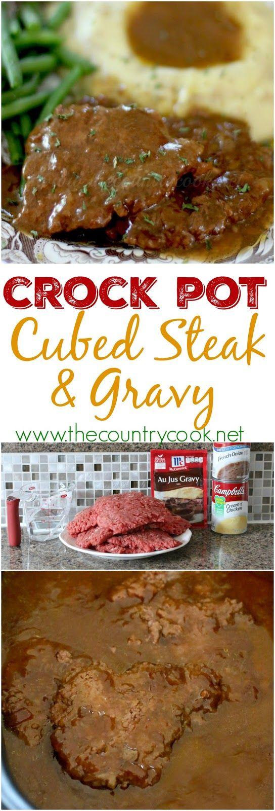Crock Pot Cubed Steak with Gravy