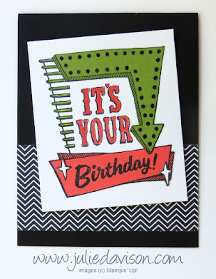 Stampin' Up! Marquee Messages Paper Piecing Birthday card for #GDP089 ~ Color Challenge: Basic Black, Old Olive, Calypso Coral ~ www.juliedavison.com