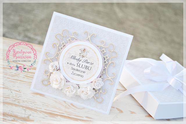 kartka ślubna kwiatowa scrapbooking