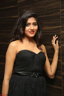Shalu Chourasiya in spicy Sleeveless Strapless Black Top at O Pilla Nee Valla Movie Audio Launch Feb 2017 105.JPG