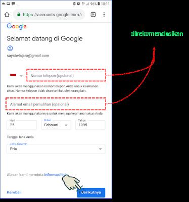 Cara 1 : Membuat Akun Gmail melalui Browser Android 3