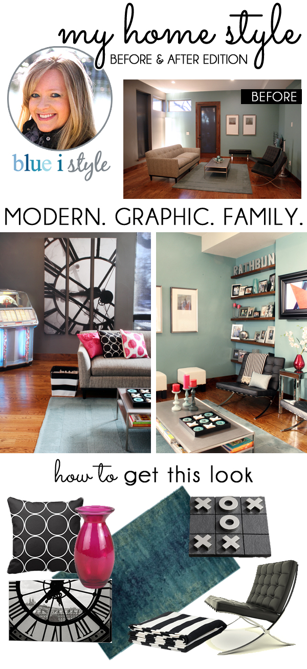 Living room before and after - modern, graphic, family