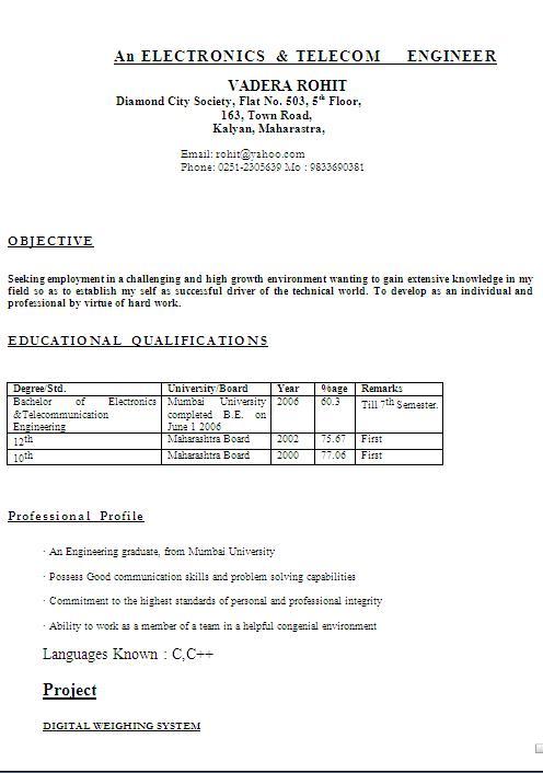 short resume format Parlobuenacocinaco