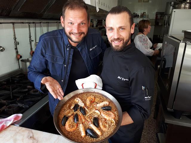 Preparing paella with Albert Guzman in Sant Carles de la Rapita, Catalonia