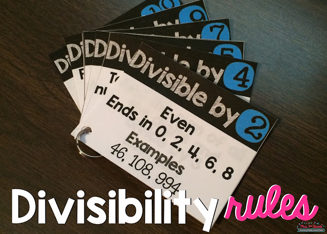 Divisibility rules are a great way to have students work on their division facts.  This can help them know when a number is divisible or not.