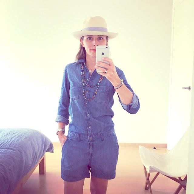 outfit combishort denim h&m vue de face