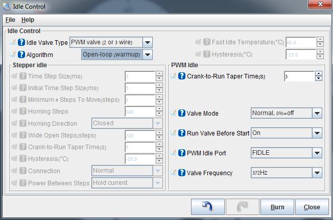 Mega Miata: Basic idle settings