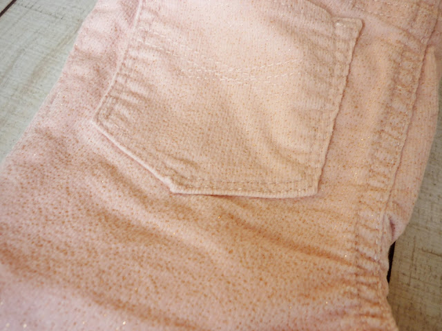 pantalon GAP velours rose et doré