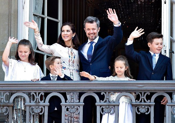 Crown Princess Mary wore VILSHENKO Jerry Floral Print Silk Crepe Dress. Princess Isabella, Prince Christian, Prince Vincent and Princess Josephine