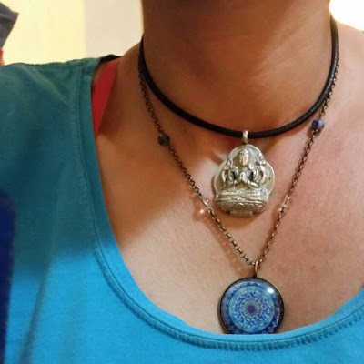 Moon Mandala Art Handmade Jewelry Blue Mandala