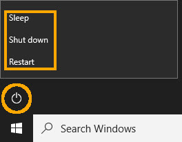 Cara membuka power di start menu