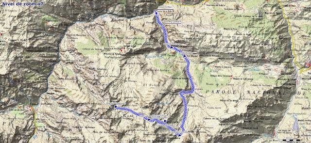 Mapa ruta Poncebos Jou de Cabrones por Camburero