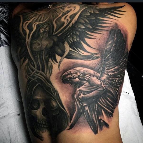 Tatuajes en la espalda de angel y demonio