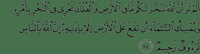 Surat Al Hajj ayat 65