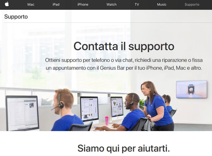 Contatto supporto ufficiale Apple