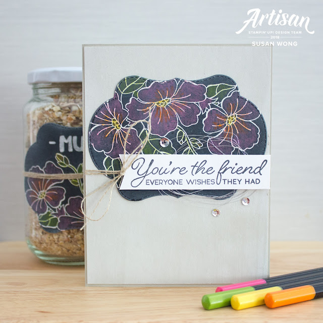Blended Seasons / Color Your Season by Stampin' Up! - Chalkboard card + gift jar by Susan Wong
