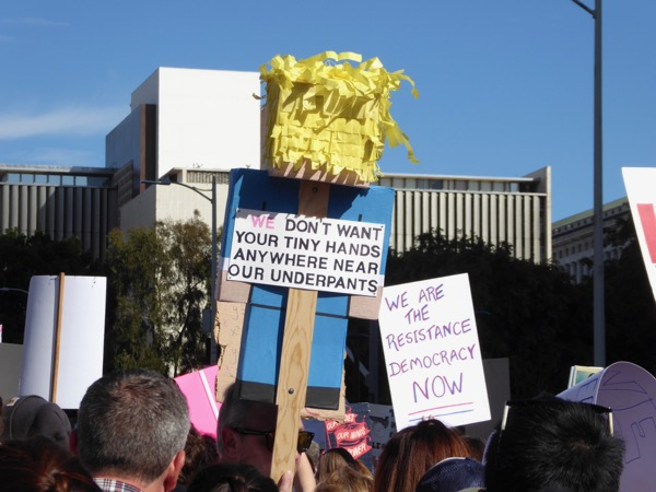 Womens March LA tiny hands underpants sign