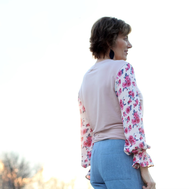 Style Maker Fabrics' Spring Style Tour - French Terry and Rayon Crepe for a top and denim for Landers - back view