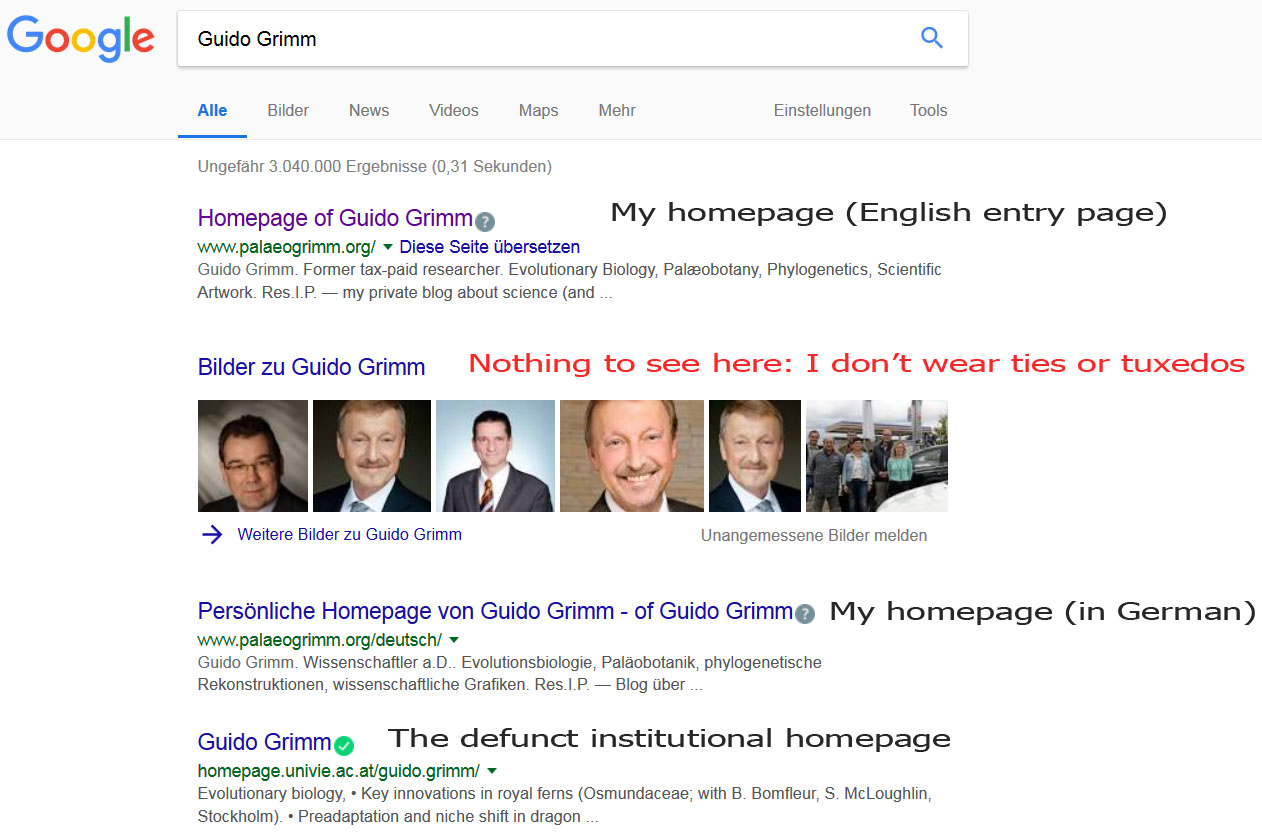 googling guido grimm personally i use duckduckgo to search the net and my homepage is also the top hit there