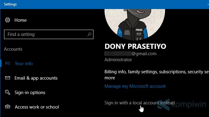 login dengan akun lokal windows 10