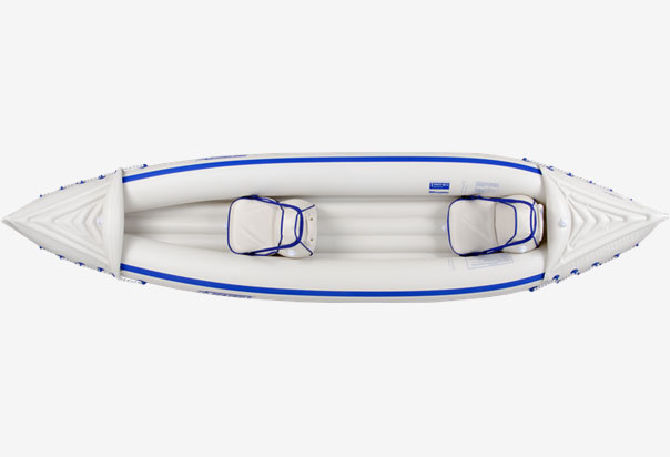 Holds up to 3-Persons, 650 lbs. Wt. Capacity, Hull Wt. 32 lbs. Lashed Down Inflatable Spray Skirts