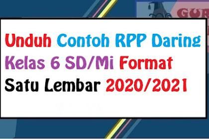 Download Contoh RPP Daring (PJJ) Kelas 6 SD Semester Ganjil Dan Genap Terbaru 2020/2021